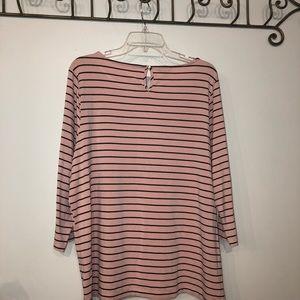 Talbots Tops - Talbots Top size 2X Pink & Black metered Stripes